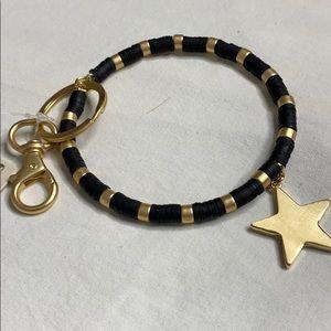Black Gold Bracelet Key Chain Gold Star